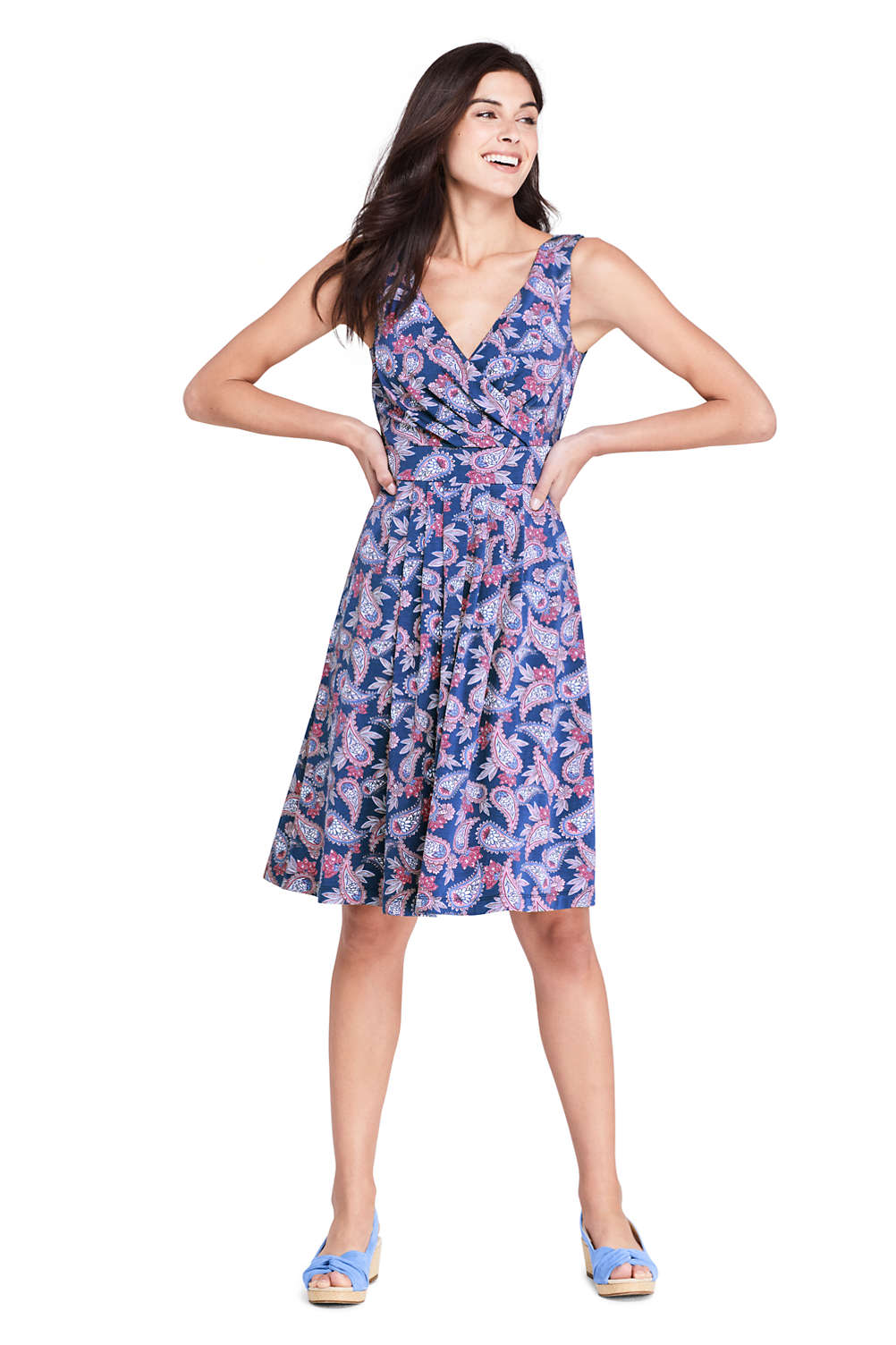 7123237b0f4 Women s Banded Waist Fit and Flare Dress Knee Length from Lands  End