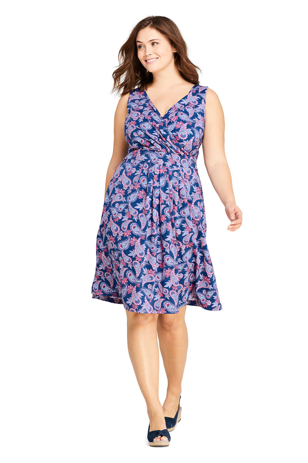 Women\'s Plus Size Banded Waist Knee Length Fit and Flare Dress