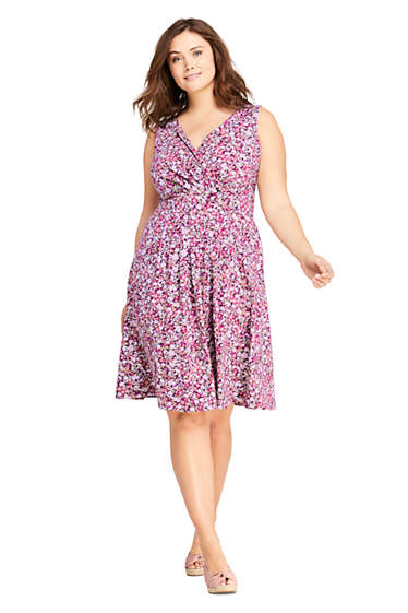 Women\'s Plus Size Banded Waist Fit and Flare Dress Knee Length from ...