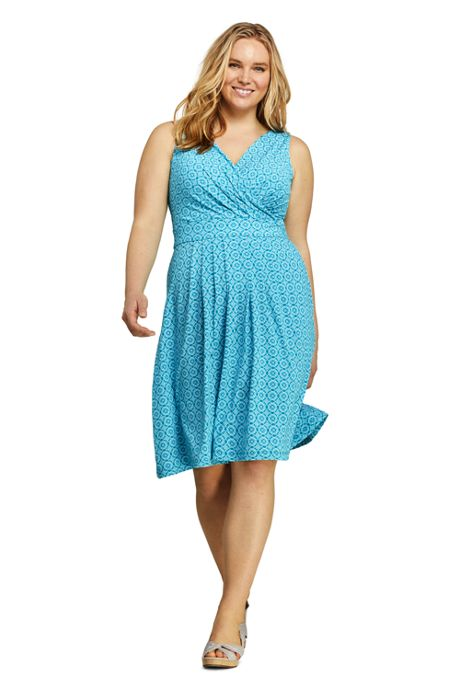 Women's Plus Size Banded Waist Fit and Flare Dress Knee Length