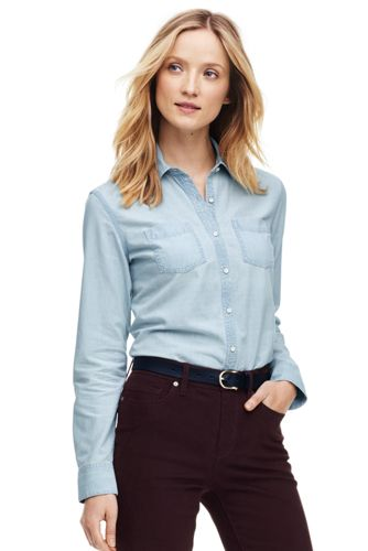 49%OFF<ランズエンド>レディス・美型シルエット・シャンブレーシャツ/無地/長袖/M/ブルー画像