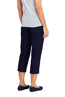 Women's 7 Day Elastic Back Comfort Waist Capri Pants, Back