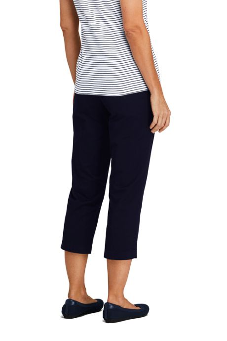 Women's Petite 7 Day Elastic Back Capri Pants