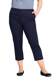 Women's Plus Size Petite 7 Day Elastic Back Comfort Waist Capri Pants
