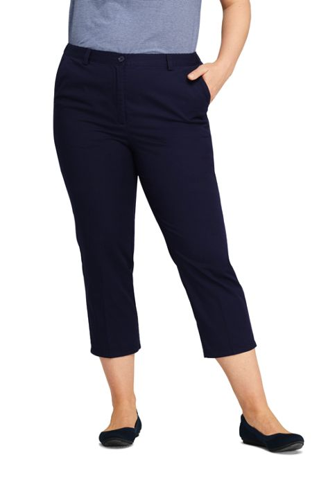 Women's Plus Size Petite 7 Day Elastic Back Capri Pants