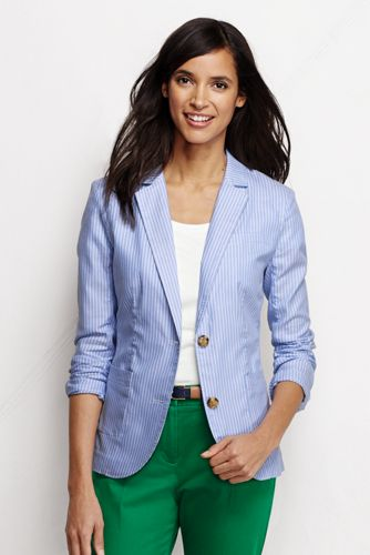Women's Regular Striped Oxford Jacket