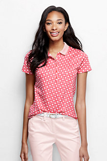 Women's Short Sleeve Slim Fit Tipped Collar Printed Pima Polo