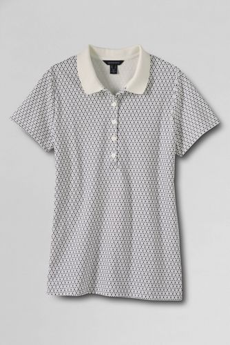 Women's Regular Short Sleeve Slim Fit Tipped Collar Printed Pima Polo