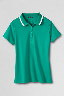 Women's Short Sleeve Slim Fit Tri Colour Tipped Collar Pima Polo