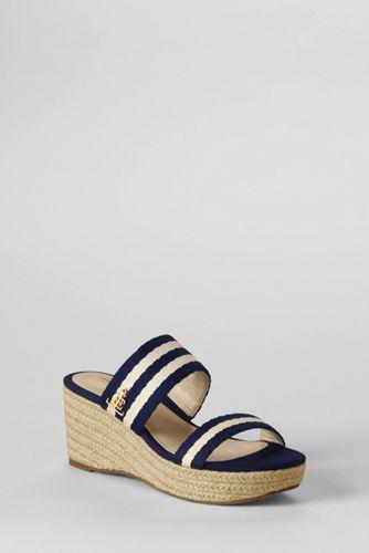 Women's Striped Mid-wedge Mule Sandals