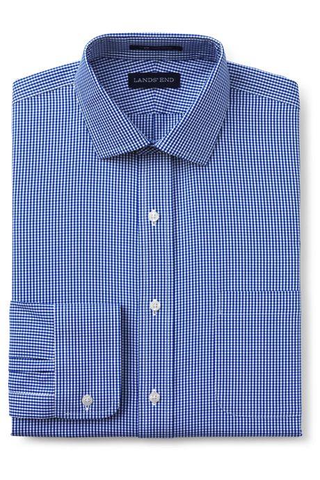 Men's Pattern No Iron Supima Pinpoint Spread Collar Dress Shirt