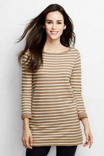 Women's Three Quarter Sleeve Striped Starfish Boatneck Tunic