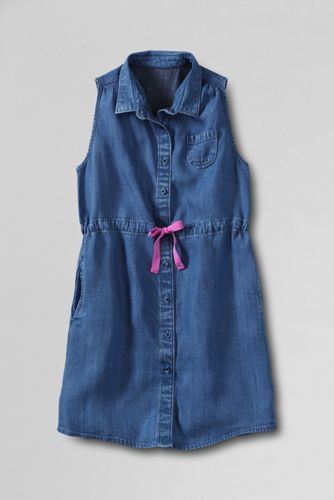 Little Girls' Indigo Sleeveless Shirtdress