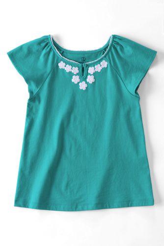 Little Girls' Embellished Flutter Sleeve Soft Jersey Knit Top