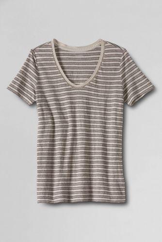 Women's Regular Linen Soft V-Neck Stripe Tee