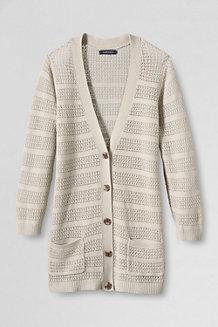 Women's Linen Cotton V-neck Pointelle Cardigan