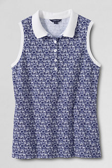 Women's Classic Fit Sleeveless Piqué Print Polo