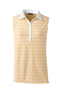 Women's Sleeveless Stripe Woven Collar Polo