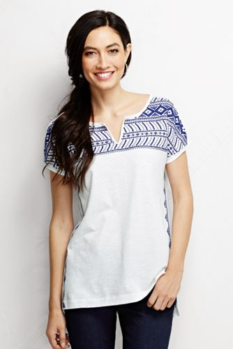 Women's Regular Slub Jersey Embroidered Tunic