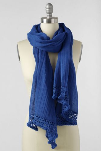 Women's Crochet Edge Plain Scarf