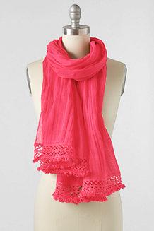 Women's Crochet Edge Plain Scarf