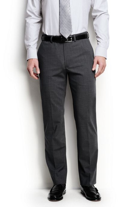 Men's Regular Washable Wool Plain Trousers