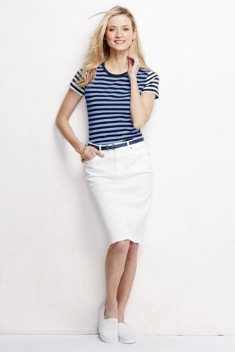 Women's Regular 5-pocket White Denim Skirt