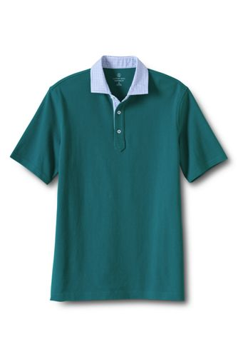 Men's Regular Woven Collar Piqué Polo
