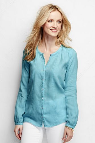 Women's Regular Long Sleeve Linen Fagotting Trim Blouse