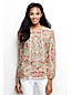 Women's Regular Long Sleeve Linen Fagotting Trim Patterned Blouse