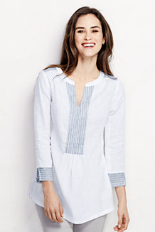 Women's Bracelet Sleeve Linen Patterned Popover Tunic