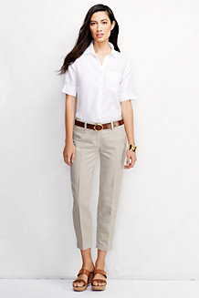 Women's Mid Rise Linen/Cotton Crops