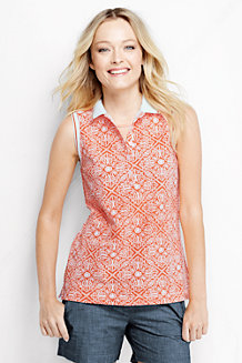 Women's Sleeveless Piqué  Print Tipped Polo