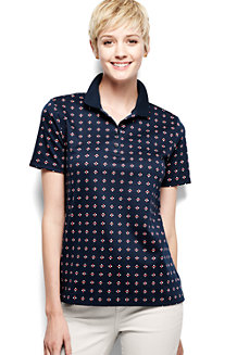 Women's Classic Fit Short Sleeve Printed Pima Polo