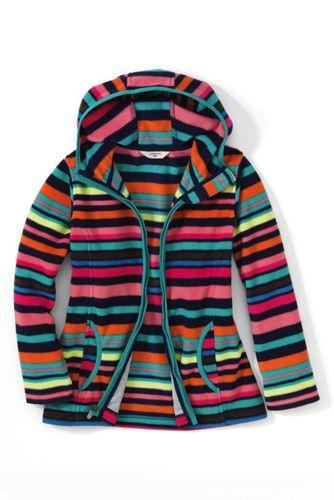 Gemusterte Fleece-Kapuzenjacke für große Mädchen