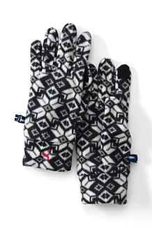 Gemusterte Fleece-Handschuhe für Damen