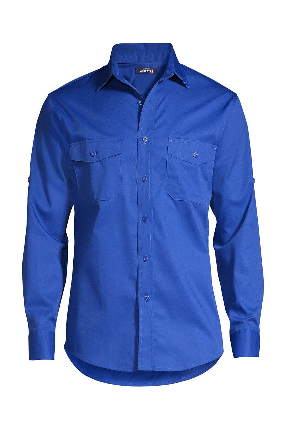 Men S Long Sleeve Straight Collar Work Shirt From Lands End