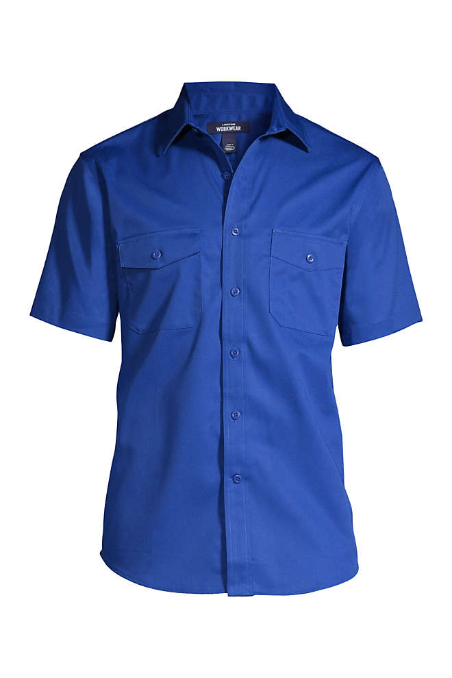 Men's Big and Tall Short Sleeve Straight Collar Work Shirt, Front