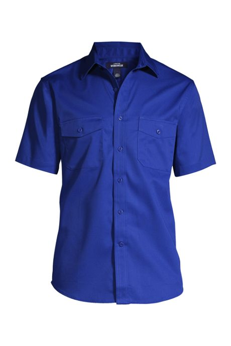 Men's Tall Short Sleeve Straight Collar Work Shirt
