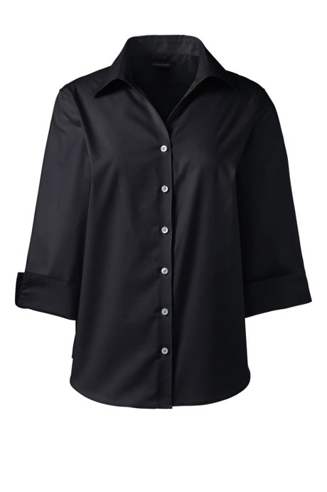 School Uniform Women's Petite 3/4 Sleeve Poplin Shirt