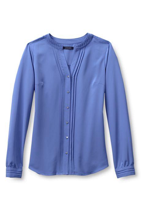 Women's Plus Size Long Sleeve Pintuck Soft Blouse