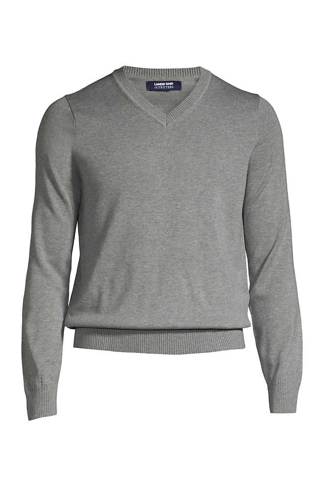 School Uniform Men's Big Cotton Modal V-neck Sweater, Front