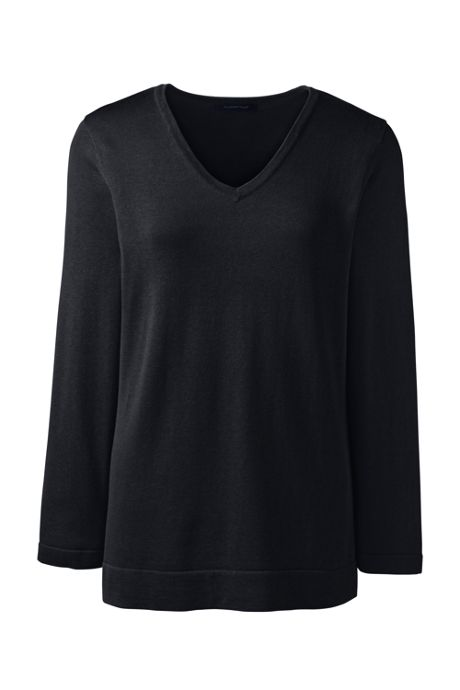 Women's Cotton Modal 3/4 Sleeve V-neck Sweater