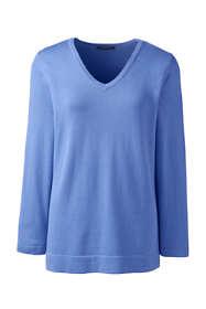 Women's Regular Cotton Modal 3/4 Sleeve V-neck Sweater
