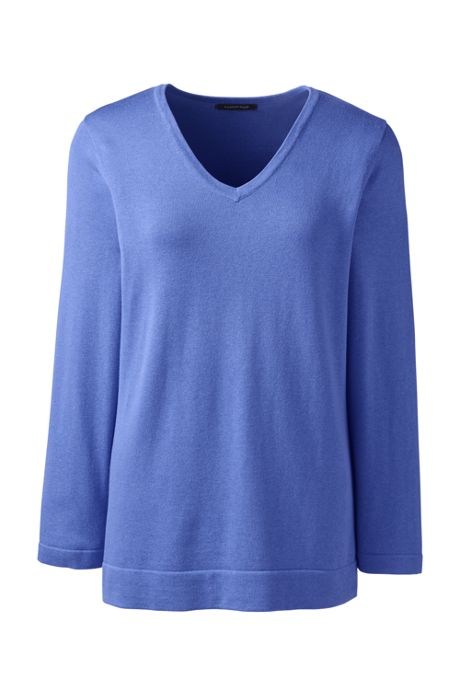 Women's Regular Cotton Modal 3/4 Sleeve V-neck Sweater