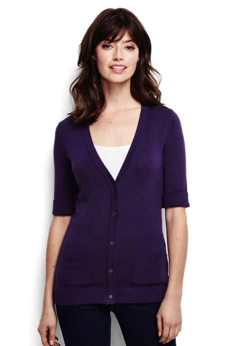 Women's Regular Cotton Modal Half Sleeve Cardigan Sweater