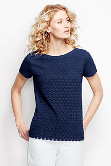 Women's Short Sleeve Lace Front Tee