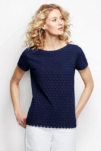 Women's Regular Short Sleeve Lace Front Tee