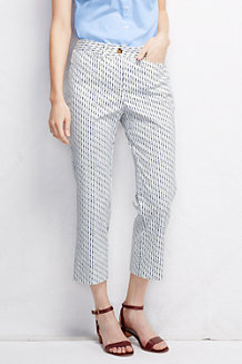 Women's  Pattern Mid Rise Cropped Chinos