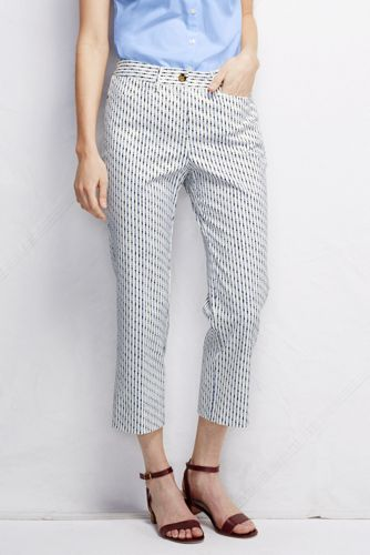 Women's Regular Pattern Mid Rise Cropped Chinos